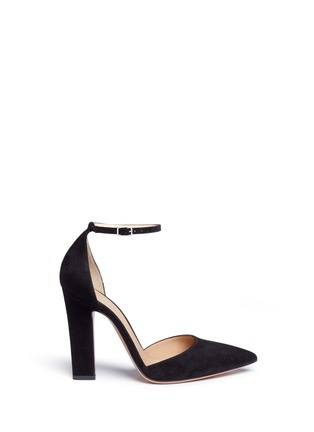 Main View - Click To Enlarge - Gianvito Rossi - Ankle strap suede d'Orsay pumps