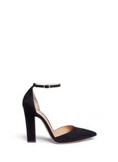 Gianvito RossiAnkle strap suede d'Orsay pumps
