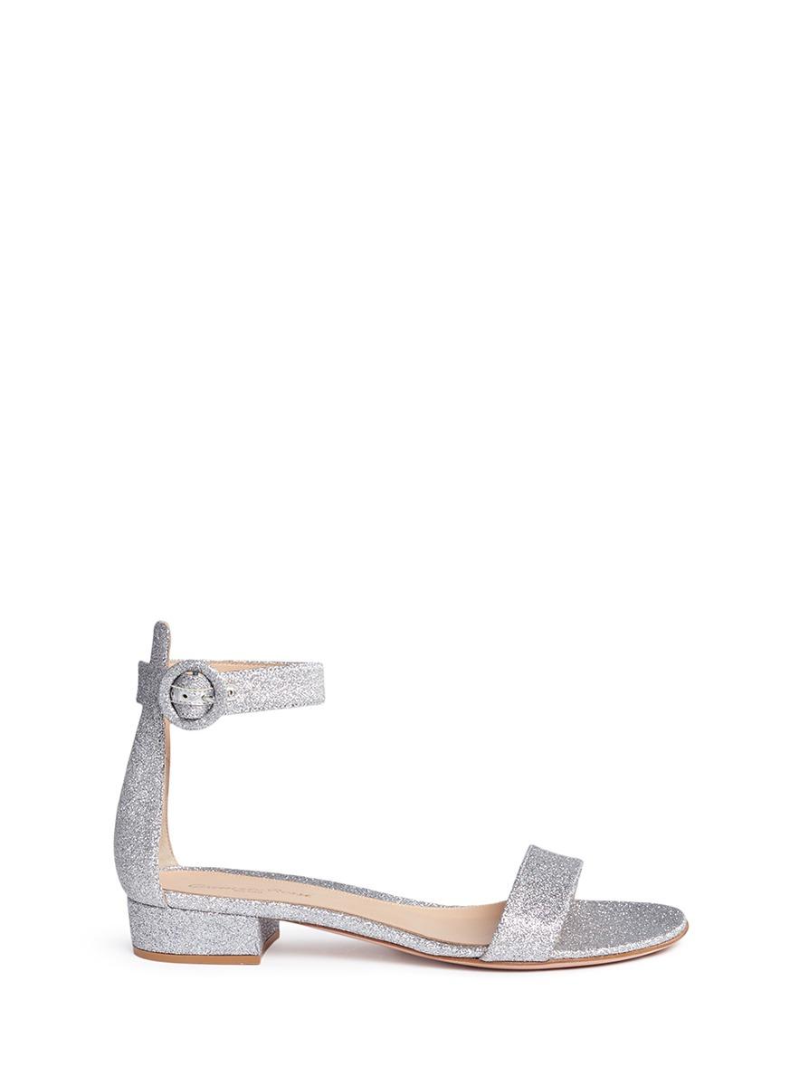 Portofino coarse glitter block heel sandals by Gianvito Rossi