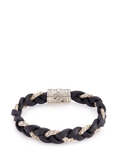 John Hardy Silver braided leather and chain bracelet