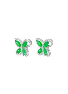 Samuel Kung Diamond jade 18k white gold butterfly stud earrings