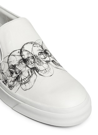 Detail View - Click To Enlarge - Alexander McQueen - Skull sketch leather skate slip-ons