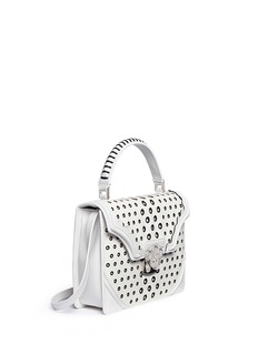 ALEXANDER MCQUEEN Crystal clasp eyelet effect perforated leather satchel