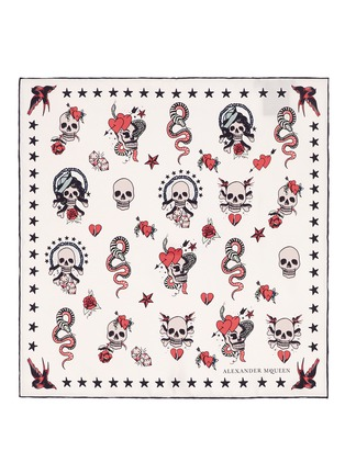 Main View - Click To Enlarge - Alexander McQueen - Skull tattoo silk twill scarf