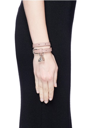 Figure View - Click To Enlarge - Alexander McQueen - Skull charm double wrap leather bracelet