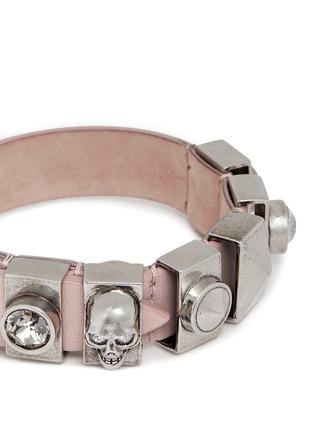 Alexander McQueen-Skull and crystal metal loop leather bracelet