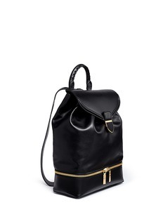 ALEXANDER MCQUEENDrawstring top flap leather backpack