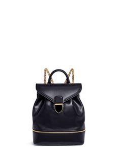 ALEXANDER MCQUEENSmall chain strap drawstring leather backpack