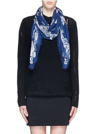 Figure View - Click To Enlarge - Alexander McQueen - Paisley skull modal-silk scarf