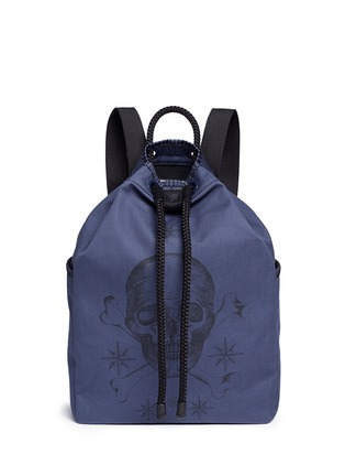 Main View - Click To Enlarge - Alexander McQueen - Skull tattoo print canvas drawstring backpack