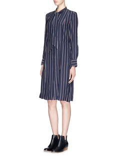 FRAME DENIM'Le Shirt Tie' stripe silk dress