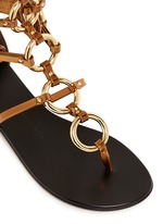 'Rock' metal ringlet mirror leather sandals