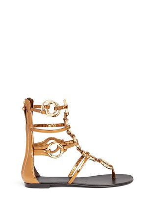 Main View - Click To Enlarge - Giuseppe Zanotti Design - 'Rock' metal ringlet mirror leather sandals