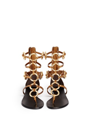 Figure View - Click To Enlarge - Giuseppe Zanotti Design - 'Rock' metal ringlet mirror leather sandals