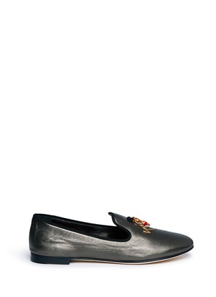 Main View - Click To Enlarge - Giuseppe Zanotti Design - 'Dalila' stiletto logo charm metallic leather slip-ons