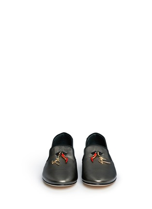 Figure View - Click To Enlarge - Giuseppe Zanotti Design - 'Dalila' stiletto logo charm metallic leather slip-ons