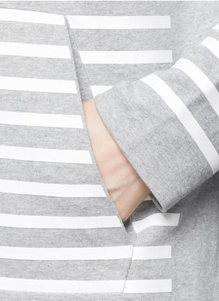 Detail View - Click To Enlarge - T By Alexander Wang - Rubber stripe cotton hoodie