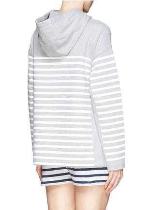 Back View - Click To Enlarge - T By Alexander Wang - Rubber stripe cotton hoodie