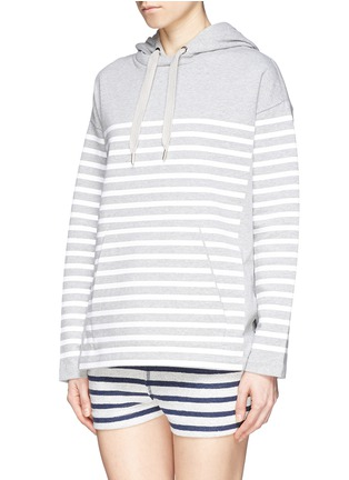 Front View - Click To Enlarge - T By Alexander Wang - Rubber stripe cotton hoodie