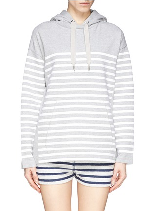 Main View - Click To Enlarge - T By Alexander Wang - Rubber stripe cotton hoodie