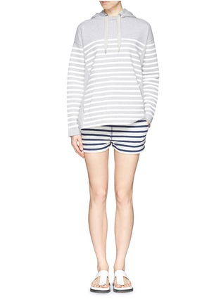 Figure View - Click To Enlarge - T By Alexander Wang - Rubber stripe cotton hoodie
