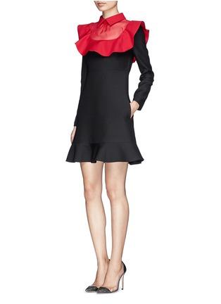 Figure View - Click To Enlarge - Valentino - Ruffle organza bib collar dress