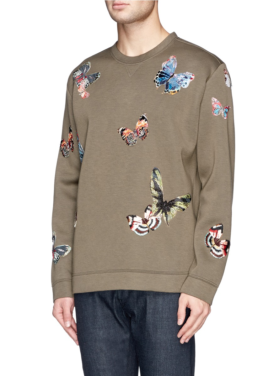 Tall City Delivery >> VALENTINO - Butterfly embroidered sweatshirt   Green ...