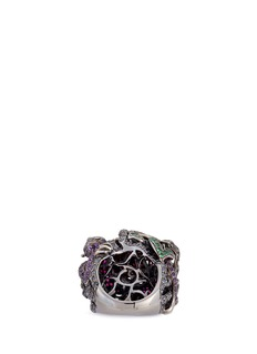 Lydia Courteille Diamond gemstone 18k white gold monkey and rose ring
