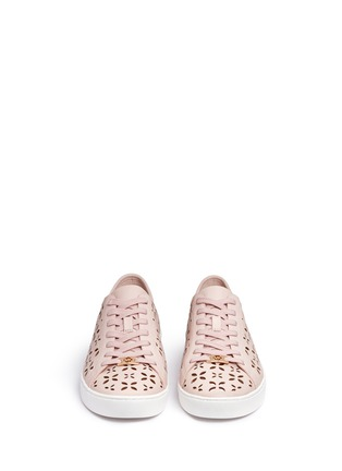 Front View - Click To Enlarge - Michael Kors - 'Keaton' floral lasercut perforated leather sneakers