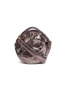 A-Esque'Petal Miniature' split handle metallic leather bag