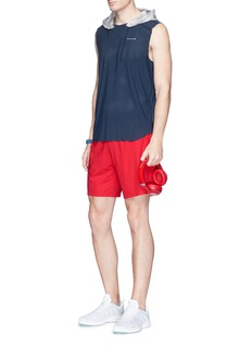 Falke Sports Reflective logo print perforated sleeveless hoodie