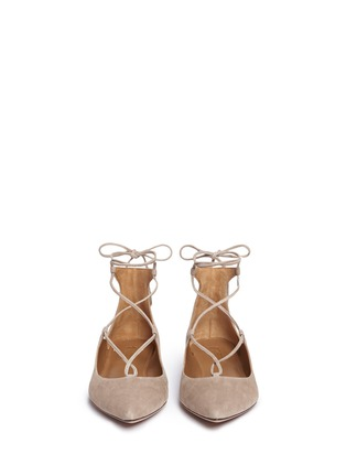 Front View - Click To Enlarge - Aquazzura - 'Christy' lace-up suede flats