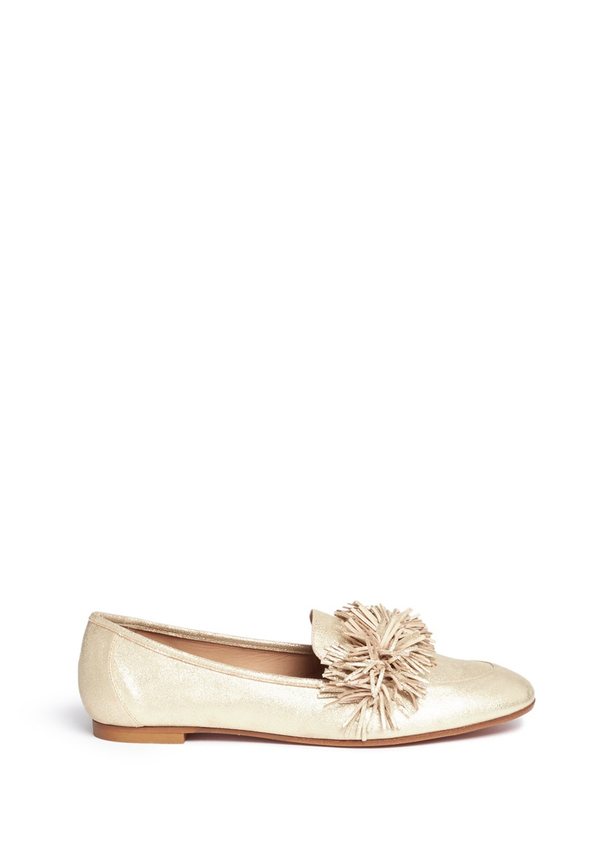 Wild fringe band metallic suede loafers by Aquazzura