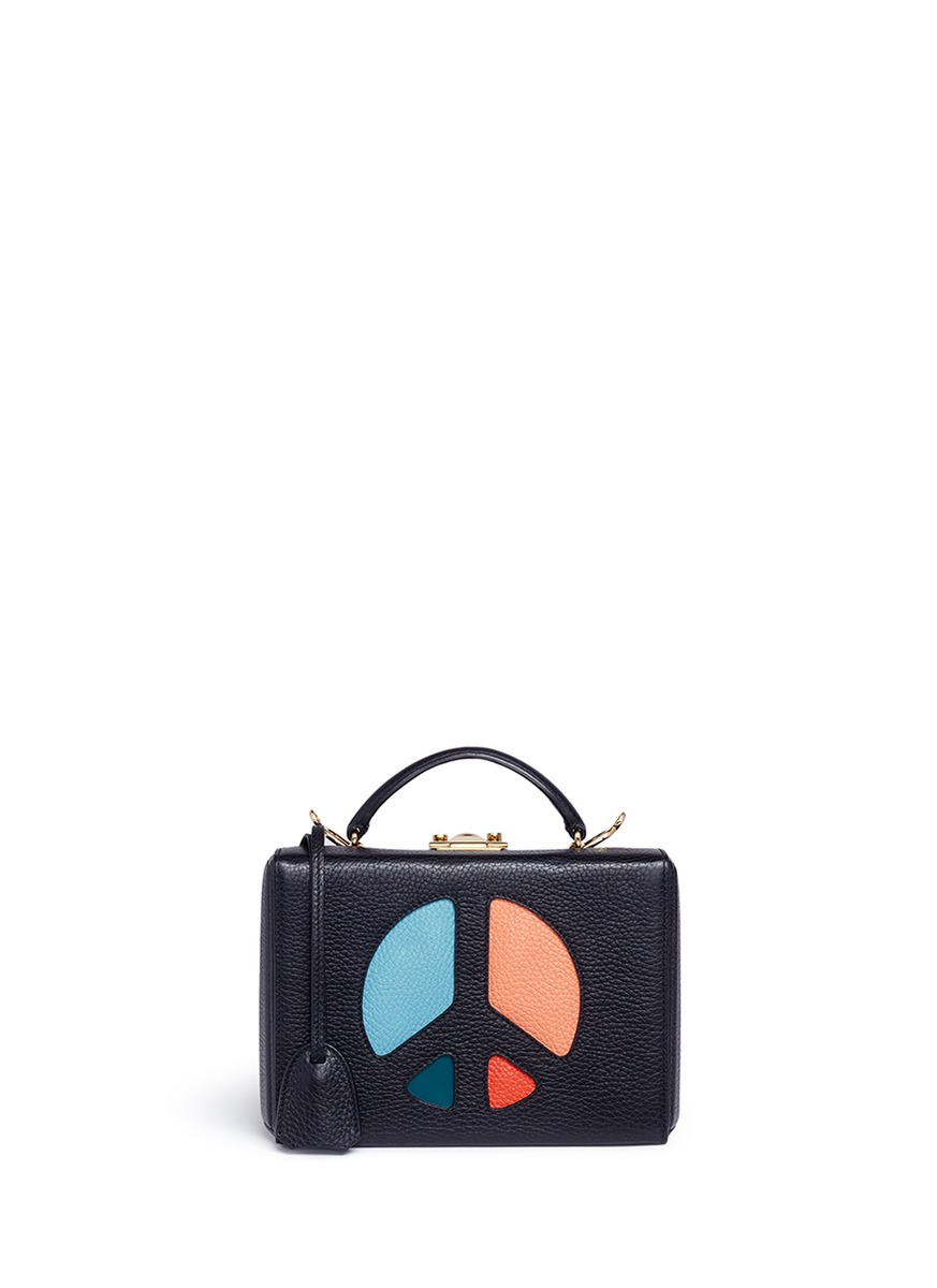 Grace Small Box peace sign cutout leather trunk by Mark Cross