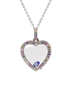 Loquet LondonDiamond sapphire 14k white gold pastel heart locket