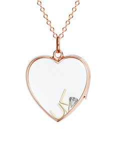 Loquet London 14k rose gold rock crystal heart locket – Large 22mm