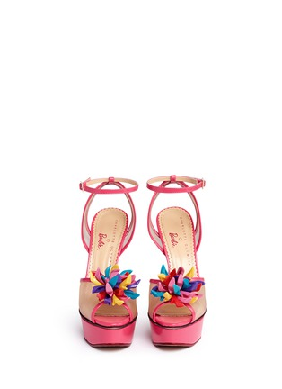 Front View - Click To Enlarge - Charlotte Olympia - x Barbie® 'Pomeline' shoe pompom leather pumps
