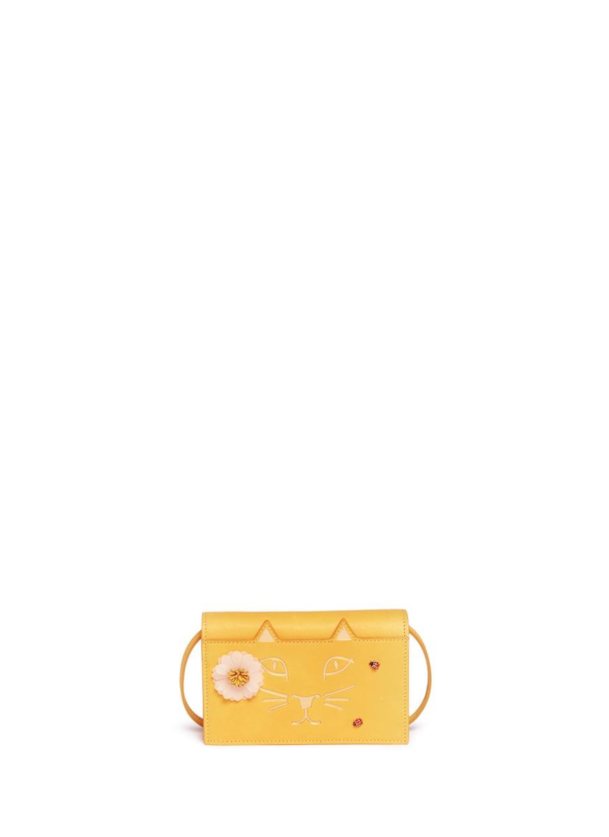 Feline Purse daisy and ladybug leather crossbody bag by Charlotte Olympia