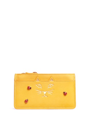 Main View - Click To Enlarge - Charlotte Olympia - 'Feline' ladybug embellished leather coin pouch