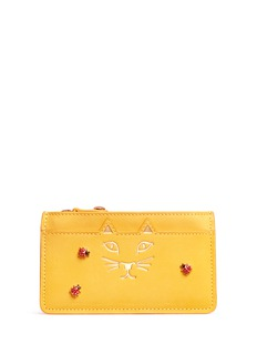 Charlotte Olympia 'Feline' ladybug embellished leather coin pouch