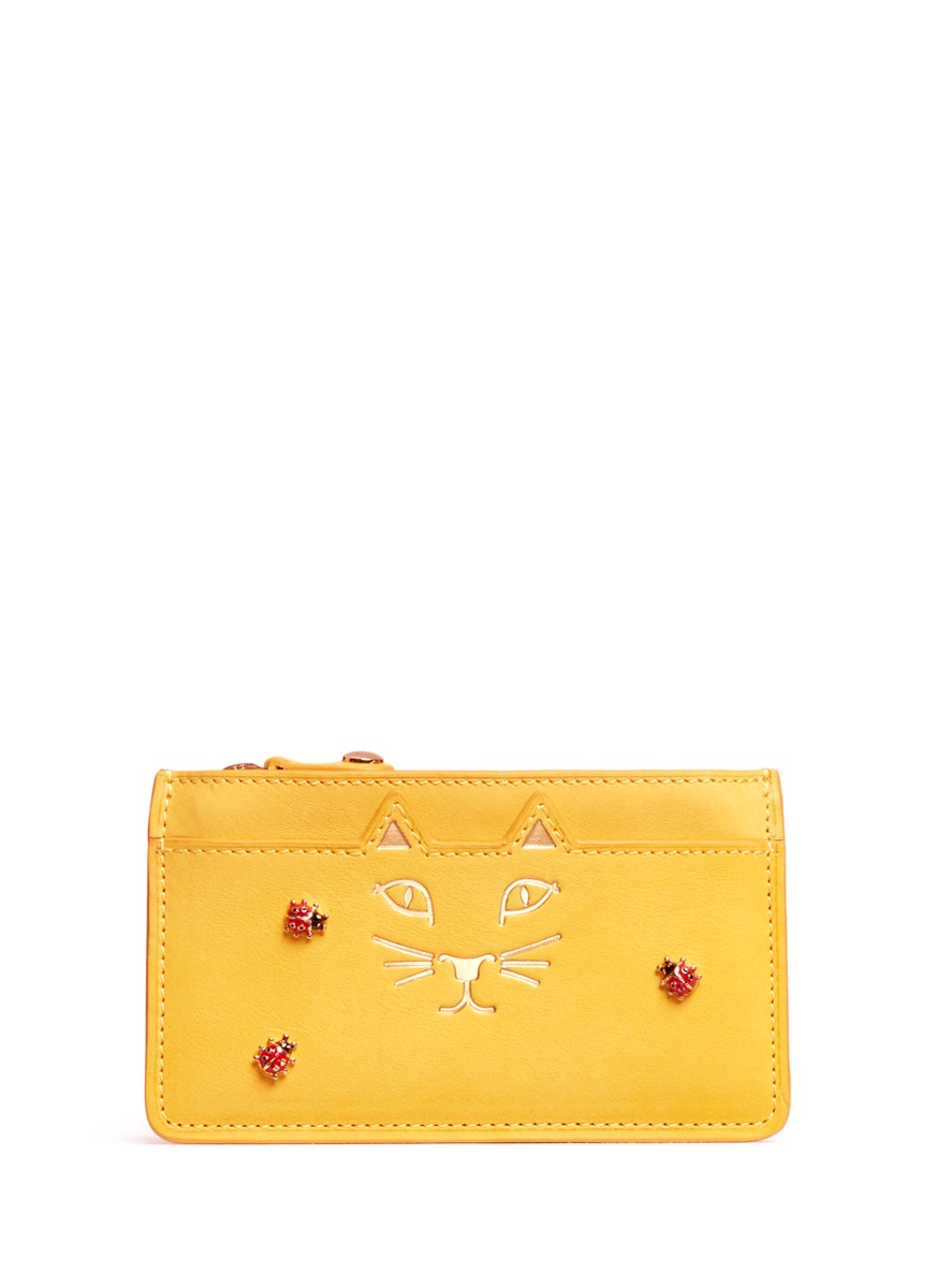Feline ladybug embellished leather coin pouch by Charlotte Olympia