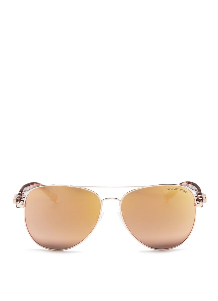 michael kors female pandora tortoiseshell acetate temple metal aviator sunglasses