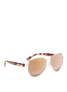 Michael Kors 'Pandora' tortoiseshell acetate temple metal aviator sunglasses