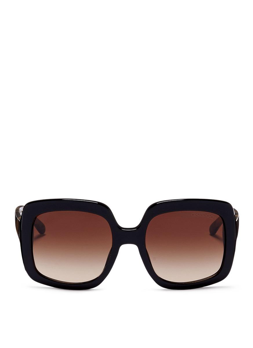Harbour Mist tortoiseshell temple acetate square sunglasses by Michael Kors