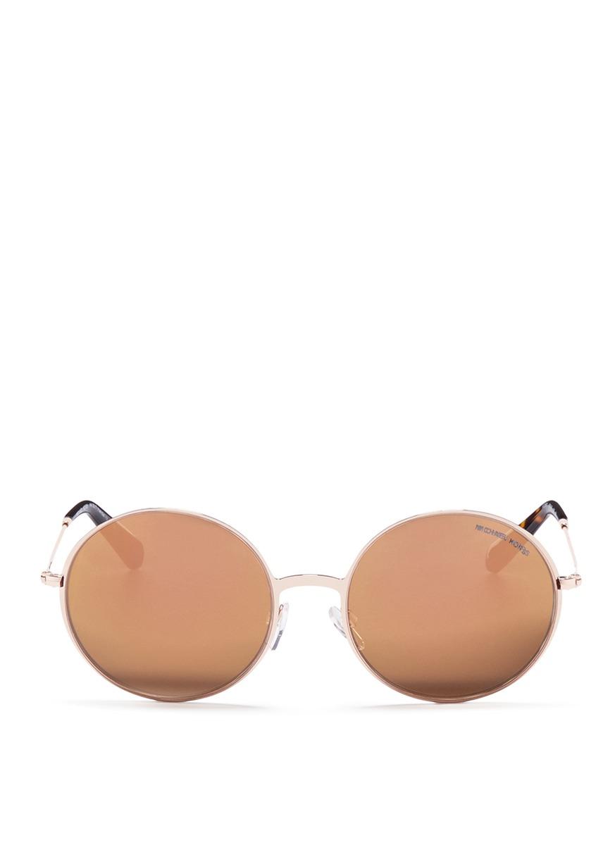 michael kors female kendall ii metal round mirror sunglasses