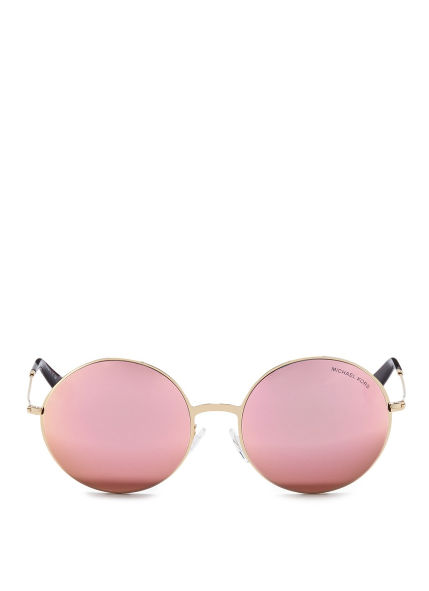 Kendall II metal round mirror sunglasses by Michael Kors