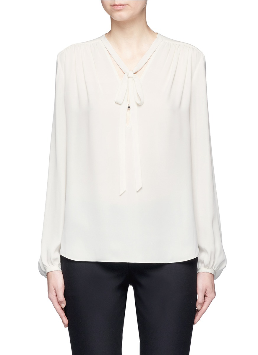 Bernetta tie neck silk georgette blouse by Theory