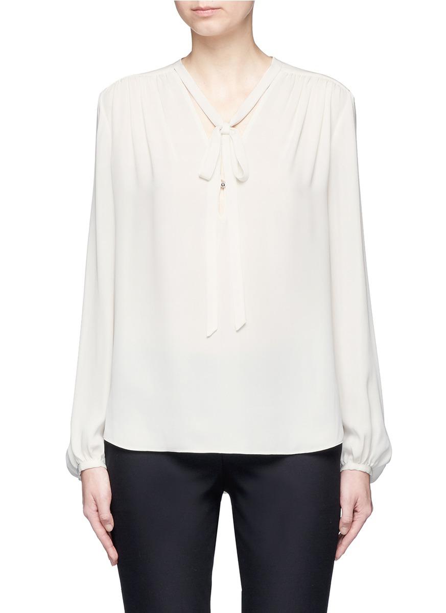 Bernetta tie neck silk georgette blouse by Theory