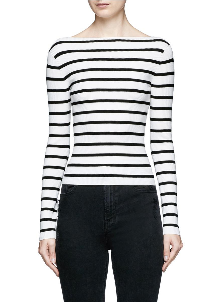 Blasina ST stripe V-back sweater by Theory