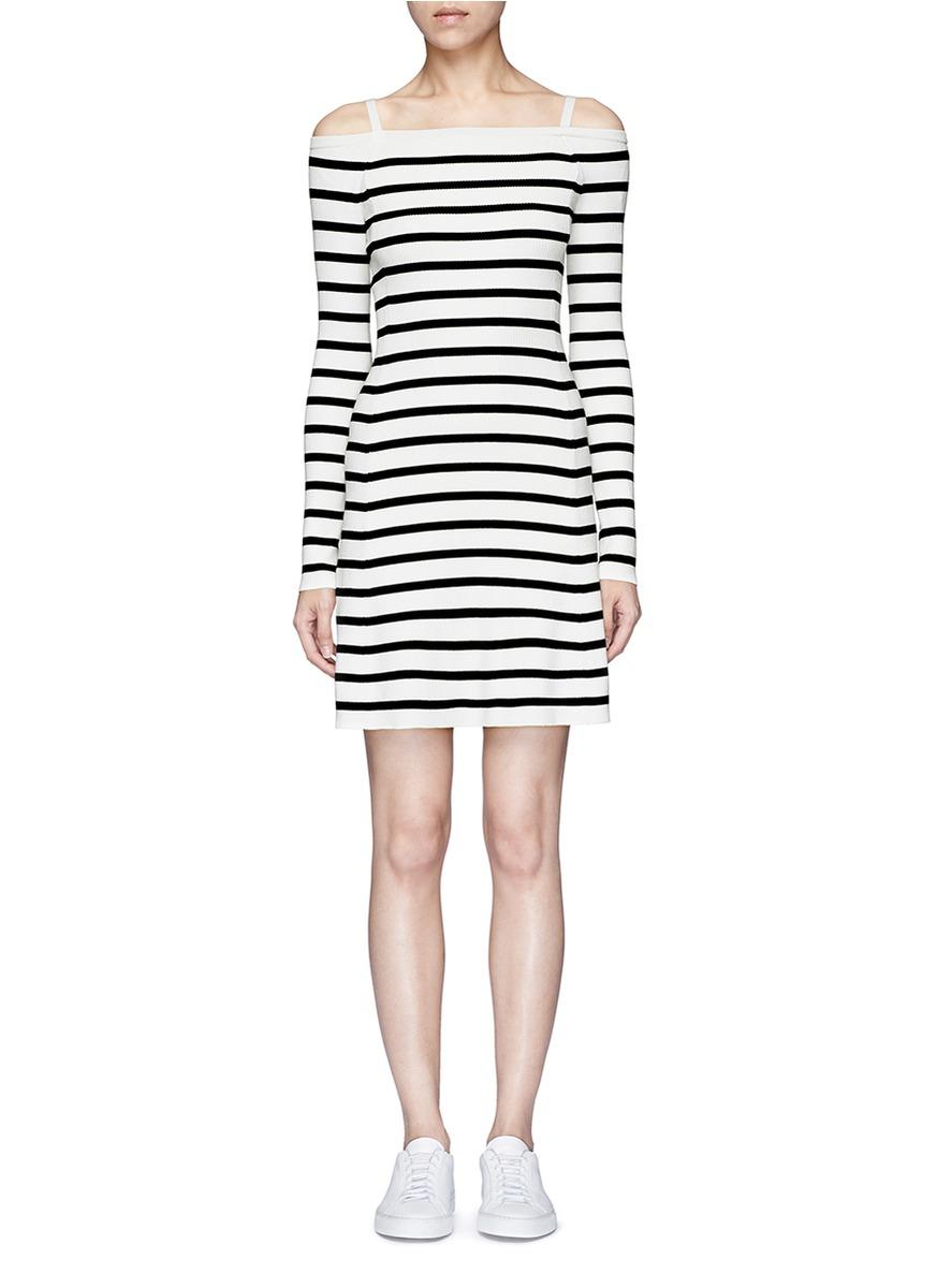 Pirellia St stripe knit cold shoulder dress by Theory